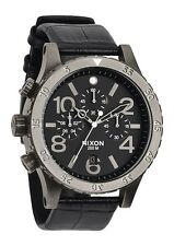 New Nixon 48-20 Chronograph Black Dial Leather Strap Men's Watch A3631886