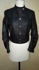 BCBG Max Azria Black Leather Jacket Snap Front 3/4 Sleeves Size S