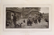 "GREYHOUND LURCHER COURSING DOG ART ANTIQUE ENGRAVING PRINT ""A Lincolnshire Gang"""