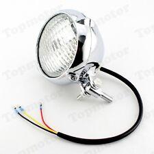 """Chrome Metal Vintage Headlight Lamp F Harley Bobber Chopper Sportster Custom 4"""""""