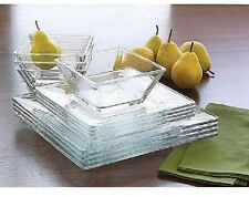 Mainstays Clear Glass 24 piece Square dinnerware Set Service for 8 NEW FREESHIP