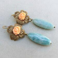 Victorian Cameo orecchini filigrana tono oro antico rose cipria e amazzonite