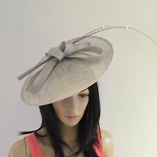 PALE SILVER GREY WEDDING HAT DISC FASCINATOR SAUCER OCCASION MOTHER OF THE BRIDE