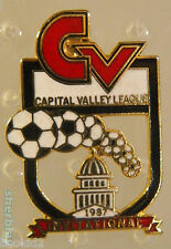 Soccer Ball Sports CAPITAL VALLEY LEAGUE INVITATIONAL  80s Hat Pin Badge Pinback