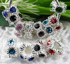 10pcs Wholesale Silver Mixed Crystal Charms Spacer Beads Fit European Bracelet