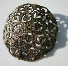 Antique Brass Button Dimensional Openwork Flower Leaves Plant Picture Very Large
