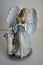 Ceramic Angel Holding Puppy Figurines Music Box #03307
