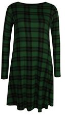 Womens Ladies Plain Jersey Christmas Long Sleeve Party Swing Skater Dress8-24