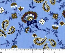 Dilly Day Blue Floral  Blue Paisley    Cotton Quilt Fabric Fabri-Quilt  BFabric