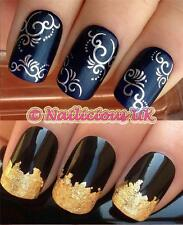 nail art set #25.silver swirls water transfers/decals/stickers & FREE GOLD LEAF