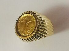 14K Gold Men's 21 MM COIN RING with a 22 K 1/0 OZ AMERICAN EAGLE COIN