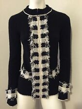 Rare Black White Tweed Chanel Cashmere 05A Sweater Jacket Sz 36~