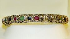 VINTAGE STYLE! 5.52ctw!! Natural Ruby,Emerald,Sapphire & Marcasite 925 Bangle!