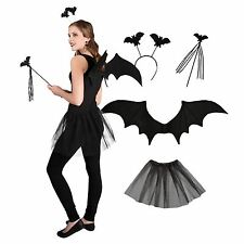 Vampire Bat Fancy Dress up Set Wings Headband Tiara Wand Tutu Skirt Ladies Girls