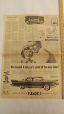 VTG 1957 Plymouth Belvedere Milwaukee Journal Auto Show Newspaper Ad