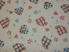 """12"""" by 24"""" Remnant Fabric Teddy Bear Country Hearts on off white cotton blend"""