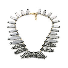 Exquiste Anthropolo​​gie Grand Eloisa Silver White Weave Rhineston Necklace