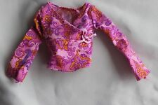 Barbie doll purple pink long sleeve shirt top v-neck wrap style look Mattel