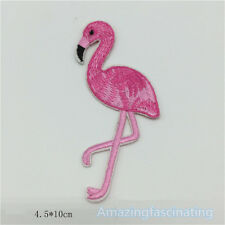Flamingo Skateboard Biker Embroidered Sew On Iron On Patch Badge Fabric Applique