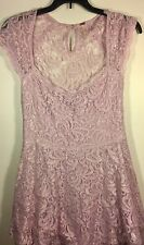 FREE PEOPLE Women's Lilac Light Pink Lace Spring Dress Easter Size 4 $168 RV!
