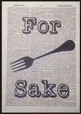 Kitchen Vintage Cutlery Print Dictionary Page Wall Art Picture Fork Funny