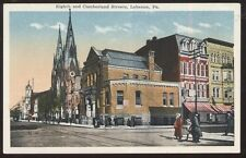 Postcard LEBANNON Pennsylvania/PA  Churches & Business Storefronts view 1907