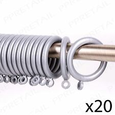 20Pc CURTAIN RINGS IN GREY 37mm Inner Diameter Rail/Rod Large Hoop Hook Loops