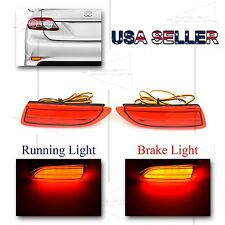 FOR 2011-13 TOYOTA COROLLA REAR BUMPER 3D LED REFLECTOR BRAKE/RUNNING LIGHTS RED