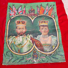 VINTAGE RARE BEAUTIFUL KING GEORGE V &QUEEN VICTORIA MARY OIL PAINTING ON CANVAS