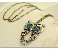 Vintage Owl Pendant Long Chain Necklace Long Sweater Chain
