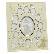 BUTTON CORNER MY FIRST YEAR MULTI PHOTO FRAME - New Baby Gift