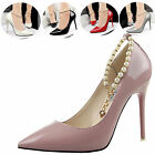 Stylish Women Stiletto High Heels Shoes Pointed Toe Party Casual Pearl Pumps