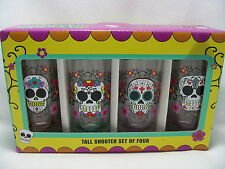 Sugar Skulls Tall Shooters Day of The Dead 4 Shot Glasses Gift Box Set of Four