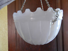 ART DECO HEAVY SCALLOPED GLASS DOME HANGING CEILING  SHADE