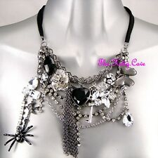 Black Silver Goth Punk Rock Retro Charms Steampunk Necklace W/ Swarovski Crystal