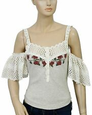 126492 Free People FP New Romantics Printed Eyelet Blouse Cold Shoulder Top XS