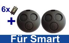 2x Auto Chiave di ricambio chassis per SMART FORTWO-mc01 450 +6x micro sonda
