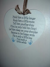 Nursery hold hm a little longer boy hanging heart shabby vintage wall hanging
