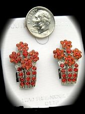 """1"""" silver red crystal clip on earrings basketball wives non pierced"""