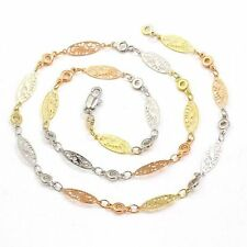 """9ct 9k Yellow Rose & White """"Gold Filled""""  Ladies Chain Necklace. L =18"""" Gift"""