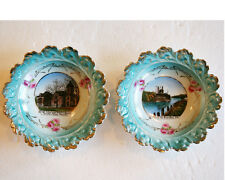 TWO BEAUTIFUL OMRO WISCONSIN SOUVENIR DISHES PADDLE STEAM BOAT AND H.S.