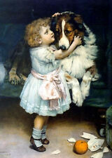 Oil painting free shipping cost to worldwide arthur john elsley - girl with dog