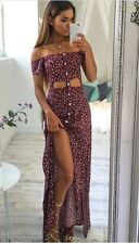 Nasty gal Lulus Boho Babe Floral Off The Shoulder Dress With Buttons NWT Medium