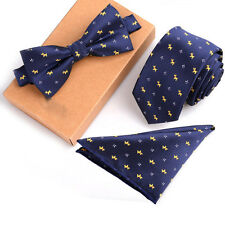 3-in-1 Suit accessory set,dog pattern tie+pocket square+bow tie set,polyester