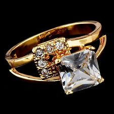 Womens Promise Yellow Gold Filled Clear Square Crystal Band Ring Size 5