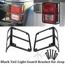 Black Metal Tail Light Covers Guard Protector For 07-16 Jeep Wrangler JK -1pair