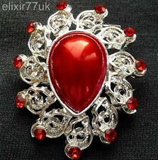 NEW SILVER FLOWER RED CRYSTAL FAUX PEARL BROOCH WEDDING PARTY FAB GIFT UK BROACH