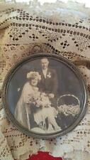 "Antique Vintage Sterling Silver Round 4 1/2"" picture frame  with Wedding photo"
