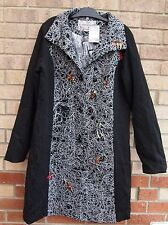 ETAM ABSTRACT ART BAROQUE QUILTED WHITE BLACK LONG SLEEVE COAT JACKET XL 16