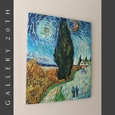 RE-CREATION IMPRESSIONIST OIL PAINTING VAN GOGH'S ROAD WITH CYPRESS & STAR! Art